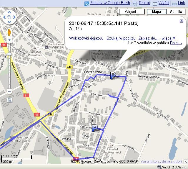 trasa GPS